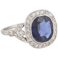 AGL Certified Sapphire Diamond Ring in Platinum
