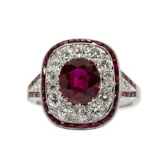 Unique Platinum GIA Certified Ruby and Diamonds Ring