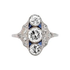 Art Deco Diamond and Sapphire Platinum Ring