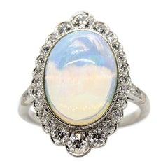 Unique Platinum Opal and Diamonds Ring