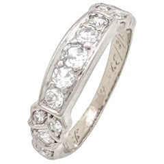 14 Karat White Gold Estate Diamond Stackable Anniversary Wedding Band Ring