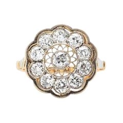 Edwardian Diamond Gold and Platinum Filigree Ring