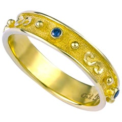 Georgios Collections 18 Karat Yellow Gold Blue Diamond Band Granulation Ring