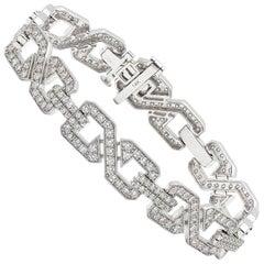 Art Deco Style Diamond and 14 Karat White Gold Link Bracelet