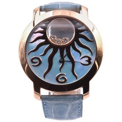 Chopard 18k Rose Gold Happy Sun with Blue Mop Dial Watch Ref. 2074694176