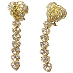 Yellow and White Diamond Pave Heart Dangle Earrings in 18 Karat Yellow Gold