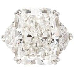 J. Birnbach GIA Certified 11.61 Carat Radiant Cut Three-Stone Ring