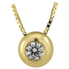 Cipollina White Diamond Pendent Set in 18 Karat Yellow Gold Made in Italy