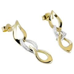 Drop Pendent Yellow Gold and White Diamond Earrings Handmade in Italy