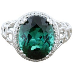 Indicolite Tourmaline Diamond Gold Ring