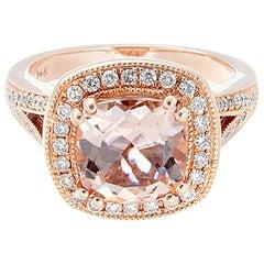 Morganite Diamond Gold Ring