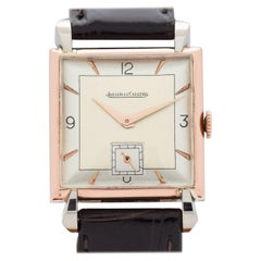 Vintage Jaeger-LeCoultre Square-Shaped Watch in 14 Karat Gold and Steel, 1940s