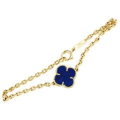 Van Cleef & Arpels Vintage Alhambra Lapis Lazuli Yellow Gold 1 Motif Bracelet