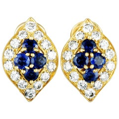 Van Cleef & Arpels Vintage Diamond and Sapphire Yellow Gold Clip-On Earrings