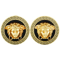 Versace Vintage 18 Karat Yellow Gold Enamel Medusa Earrings
