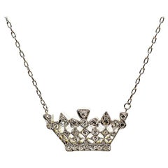 Victorian-Style Platinum and 18 Karat Gold Tiara or Crown Diamond Necklace