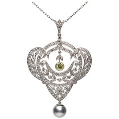 Edwardian Style GIA Certified Old European Cut Pearl and Diamond Necklace