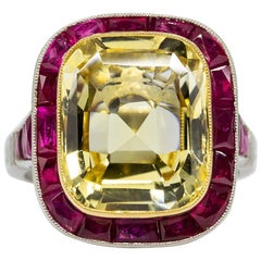 GIA Certified Yellow Sapphire and Ruby Platinum and 18 Karat Yellow Gold Ring