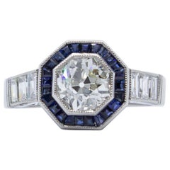 Platinum Old European Cut GIA Certified Diamond and Sapphire Art Deco Style Ring