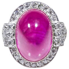 Estate Platinum AGL Certified Ruby and Diamond Halo Ring