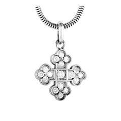 Marina B. 18 Karat White Gold Diamond Cross Pendant Necklace