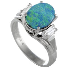 Platinum Diamond and Opal Oval Ring