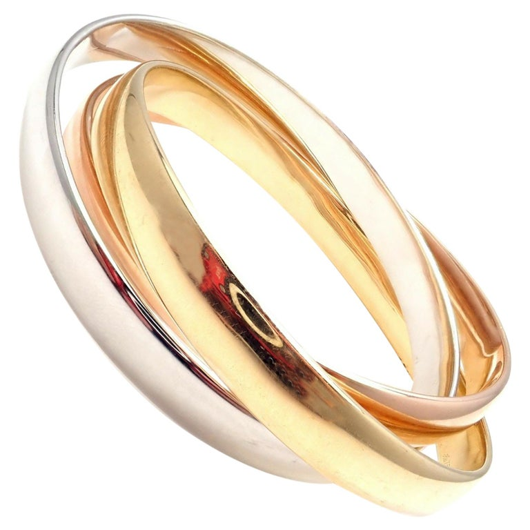 Cartier Trinity Rolling Large Model Tricolor Gold Bangle Bracelet For Sale