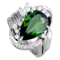 Platinum Diamond and Green Tourmaline Oval Ring