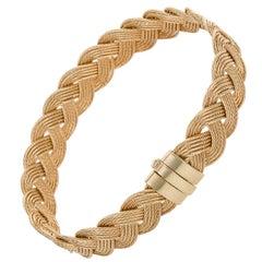 14 Karat Yellow Gold Plaited Bracelet