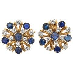 18 Karat Yellow & White Gold Sapphire & Diamonds Day Night Earrings