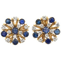 18 Karat Yellow and White Gold Sapphire and Diamonds Day Night Earrings