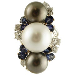 South Sea White and Grey Pearls, Diamonds, Blue Sapphires, White Gold Ring