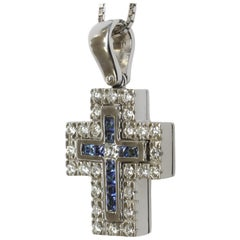 Blue Sapphire, Tsavorite and White Diamond Cross in 18-Karat White Gold