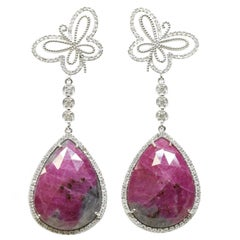 Ruby and Butterfly Earrings in 18 Karat White Gold