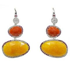 Orange and Yellow Jade Earrings with Rubies and Diamonds in 18 Karat White Gold