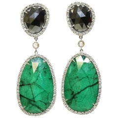 Hematite and Emerald White Diamond Earrings in 18 Karat White Gold