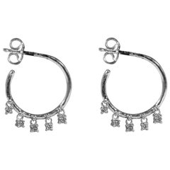 White Gold Circlet with 5 Hanging Diamonds Earrings
