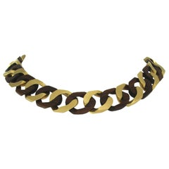 Chain Necklace in 18 Karat Yellow Mat Gold and Rosewood