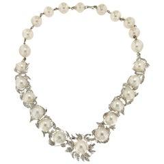 Australian Pearls 18 Karat White Gold Diamonds Choker Necklace