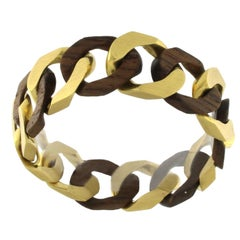Chain Bracelet in 18 Karat Yellow Mat Gold and Rosewood