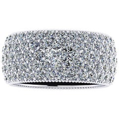 4.60 Carat Wide White Diamond Pavé Ring in 18 Karat White Gold
