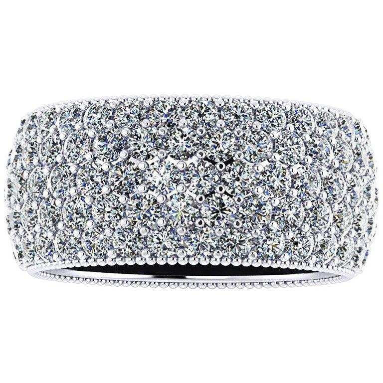 4.60 Carat Wide White Diamond Pavé Ring in 18 Karat White Gold For Sale