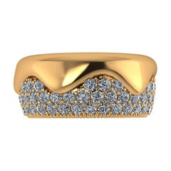 2.30 Carat White Diamond Melting Away Pave Ring in 18 Karat Yellow Gold
