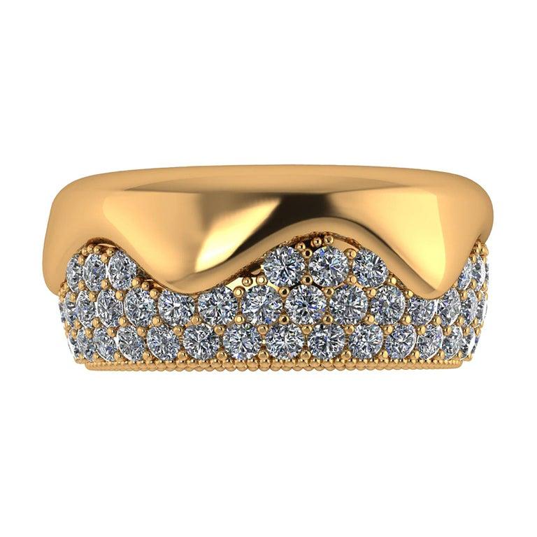 2.30 Carat White Diamond Melting Away Pave Ring in 18 Karat Yellow Gold For Sale