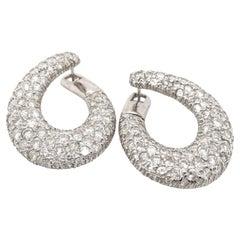 18 Karat White Gold & Diamond Italian Hoop Earrings