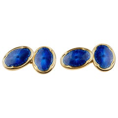 Deakin & Francis Antique Cufflinks in 18 Carat Gold and Blue Enamel