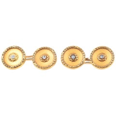 Antique Cufflinks and Four Studs in 18 Karat Gold with Diamond Centre