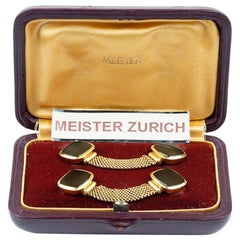 "Meister ""Around the Cuff"" Links with Onyx Set in 18 Karat Yellow Gold"