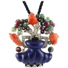 Lapis, Diamonds, Emeralds, Rubies, Sapphires, Coral, Gold Flower Vase Brooch