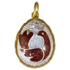 Vintage Bird Silver Gilt and Enamel Pendant Egg Charm